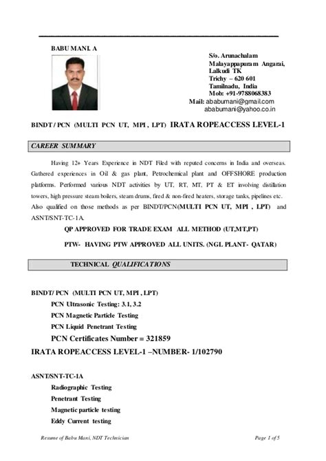 Ndt Level 2 Inspector Resume by Ndt Pcn Multi With Ropeaccess Cv