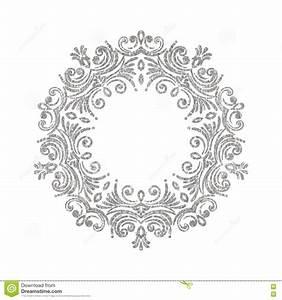 Elegant Luxury Vintage Circle Silver Floral Frame Stock ...
