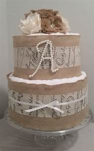 3 or 2 tier burlap towel cakea touch of rustic elegance With wedding shower towel cake centerpiece