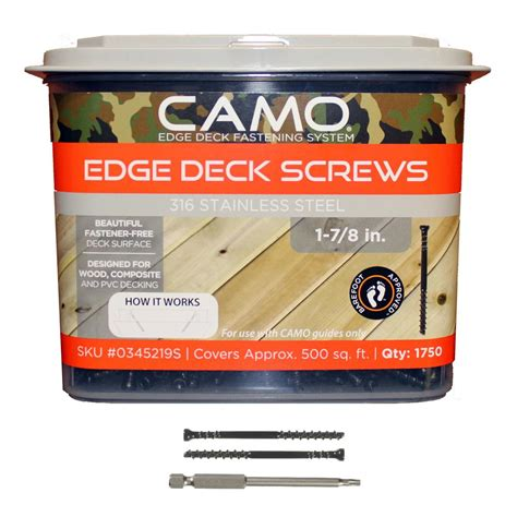 camo deck fasteners home depot camo deckpac 875 1 7 8 in protech coated trimhead deck