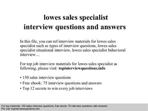 lowes flooring specialist questions lowes sales specialist interview questions and answers