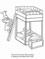 Bunk Bed Beds Coloring Sketch Pages Drawing Template Sheets Safety Activities Getdrawings sketch template