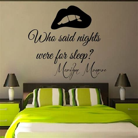 Bedroom Phrases by Wall Decals Marilyn Quote Who Said Nights Were For