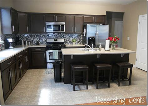 chocolate color kitchen cabinets remodelaholic sleek chocolate painted cabinets 5403