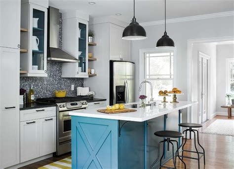 Blue And Gray Kitchen With Yellow Striped Runner