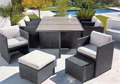 canapé de jardin en résine tressée mobilier exterieur leclerc