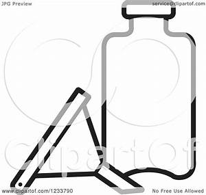 Clipart of a Black and White Funnel and Bottle - Royalty ...