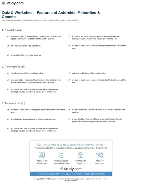 Quiz & Worksheet - Features of Asteroids, Meteorites ...