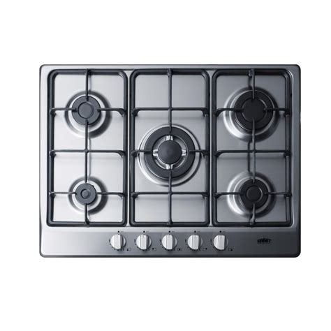 Five Burner Gas Cooktop by Summit Appliance 27 In Gas Cooktop In Stainless Steel