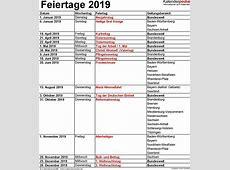 Feiertage 2019 in Deutschland mit druckbaren Vorlagen