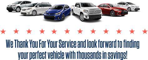 military rebate discounts toyota cars trucks suvs