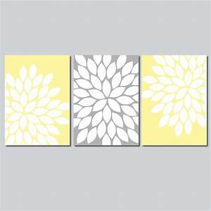 Yellow gray wall art bedroom flower pictures canvas or