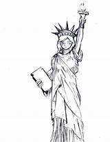 Liberty Statue Coloring Drawing Cartoon York Getdrawings Realistic sketch template