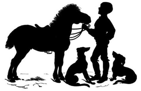 vintage clip art sweet silhouette boy  horse