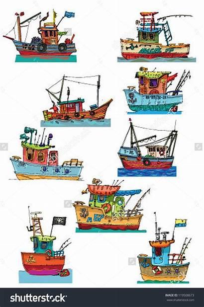 Cartoon Fishing Port Clipart Boats Fish Vector