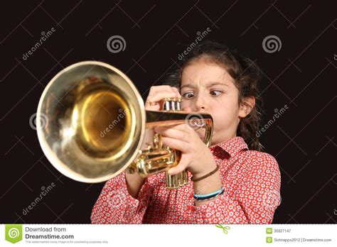 girl  trumpet royalty  stock photography image