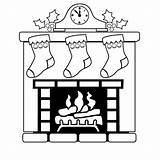 Fireplace Christmas Coloring Pages Mantle Drawing Draw Easy Stockings Sheets Clock Fire Fireplaces Printable Sheet Mantel Corner Stocking Outline Silhouette sketch template