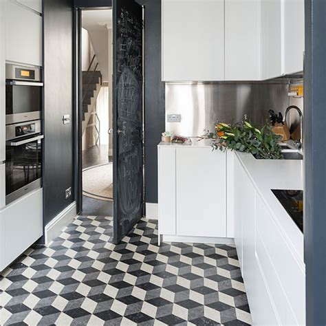 kitchen with black floor tiles black and white flooring ideas decorating ideal home 8738