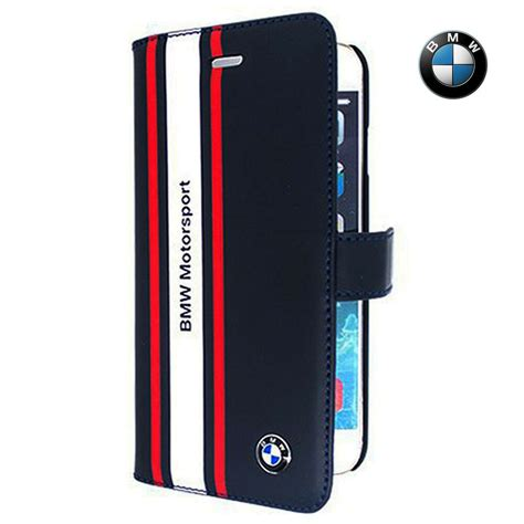 Bmw Motorsport Leather Filp Case For Iphone Dark Blue
