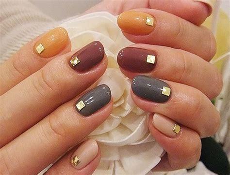 pretty multi colored fall nails pictures