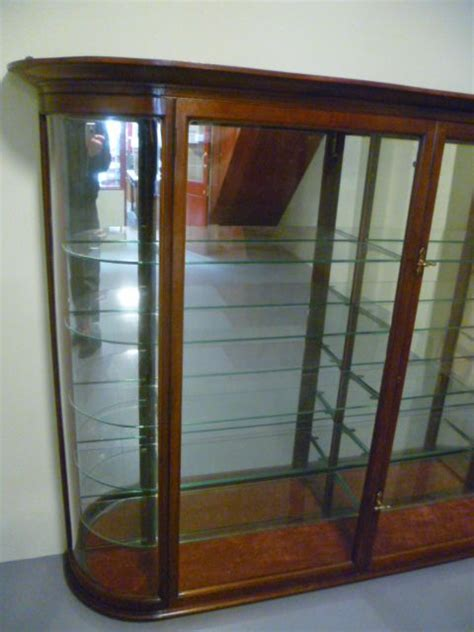 glass fronted wall cabinet good quality antique mahogany bow fronted glass wall