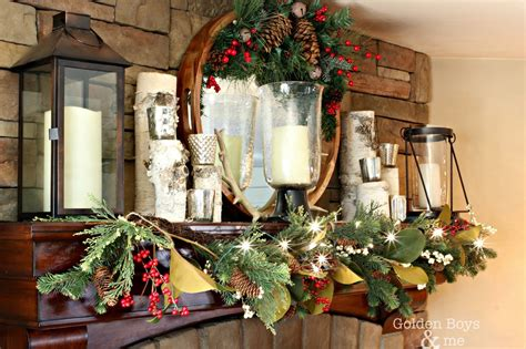 golden boys   rustic christmas mantel