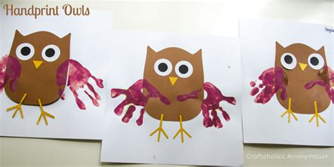 craftaholics anonymous 174 bat and owl preschool crafts 875 | handprint owls