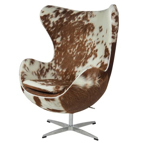 Cowhide Egg Chair by Jacobsen Lounge Chair Egg Chair Brown White Design