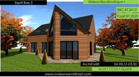 plan de maison plain pied gratuit 3 chambres esprit bois maison ossature bois demi ronde constructeur