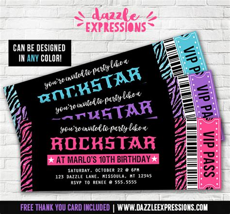 Printable Glitter Zebra Rockstar Ticket Birthday