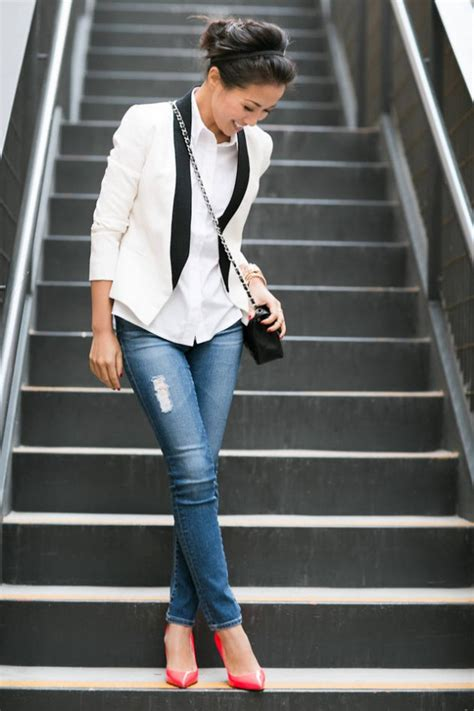 style  wear white blazer  fall  outfits