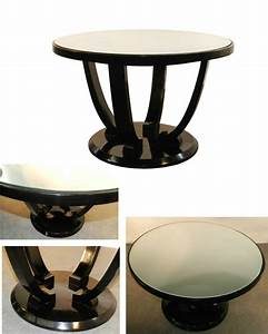 Jules Leleu Art Deco Gueridon Lacquered And Mirrored