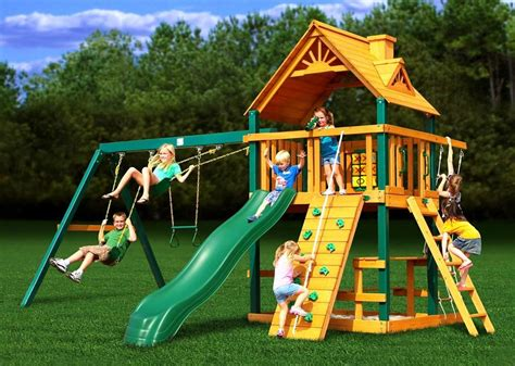 blue ridge chateau playset  outdoor castle swing sliding