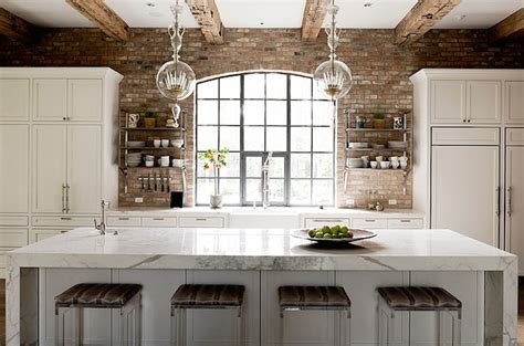 exposed brick walls transitional kitchen thompson custom homes