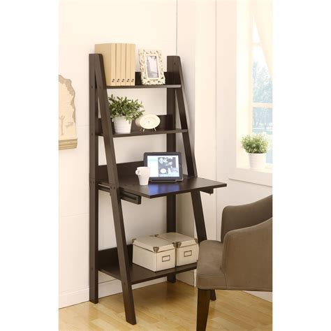 leaning ladder bookshelf with laptop desk dark brown wooden ladder shelf computer desk leaning on