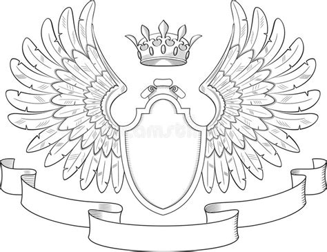 coat of arms template wings coat of arms with wings stock vector illustration of