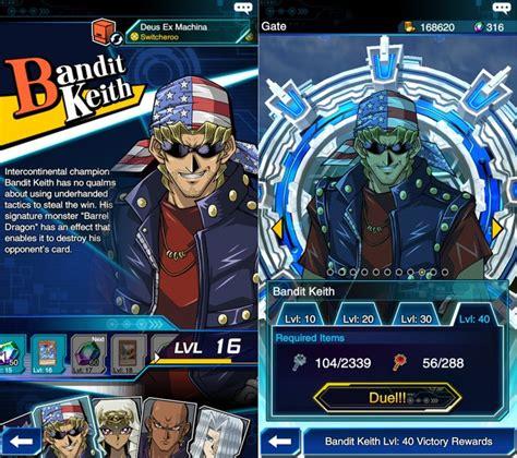 bandit keith deck duel links como desbloquear todos os duelistas em yu gi oh duel