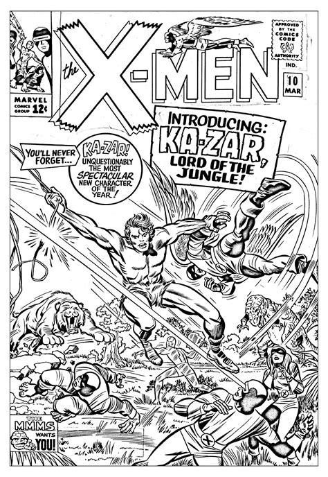 Coloring Comic by Comics Xmen 1965 Unreleased Cover Books Coloring Pages