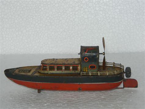 Up Boat by Vintage Wind Up Sparkle Mechanism Boat Tin