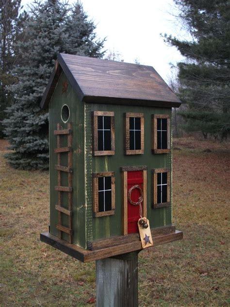 Folk Art Primitive Saltbox Birdhouse Birdhouses