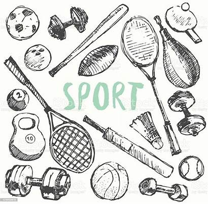 Sport Doodle Equipment Sketch Drawn Vector Drawing