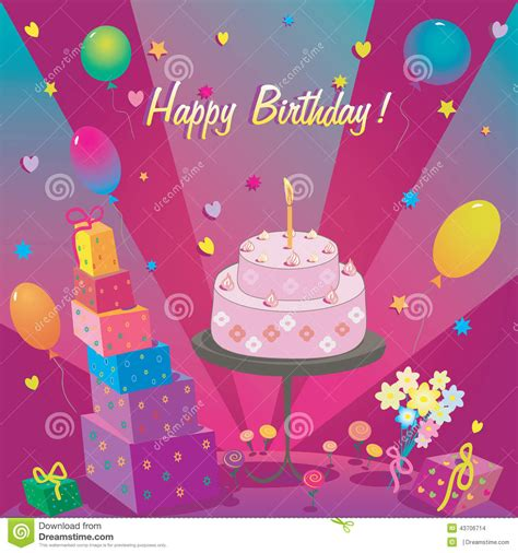 template  happy birthday card  cake  ballon