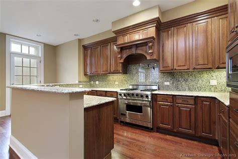 traditional medium wood brown kitchen cabinets