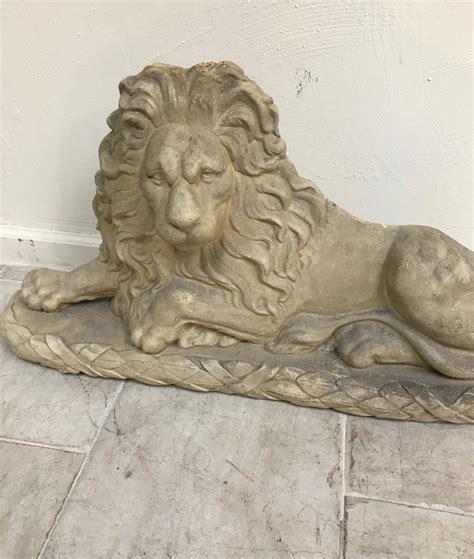 reclining plaster lion sculpture  sale  stdibs