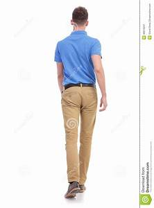 Casual Young Man Walks Away From Camera Stock Photo ...