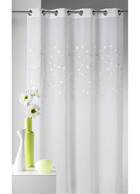 voilage blanc en 233 tamine avec broderie petites feuilles blanc homemaison vente en ligne