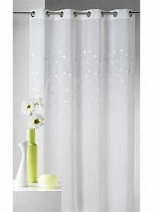 Voilage Gris Et Blanc : voilage blanc en etamine avec broderie petites feuilles ~ Dailycaller-alerts.com Idées de Décoration