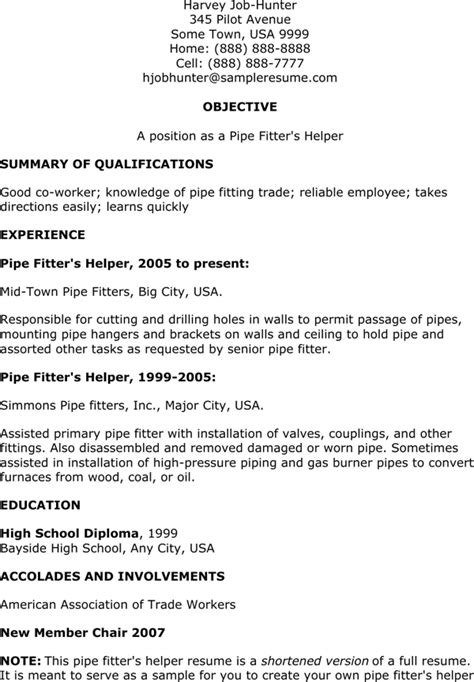 Resume Helper Free by Pipefitter Helper Resume For Free Formtemplate