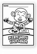 Monkey Benjamin Coloring Hands Wash Washing Hand Preschool Printable sketch template
