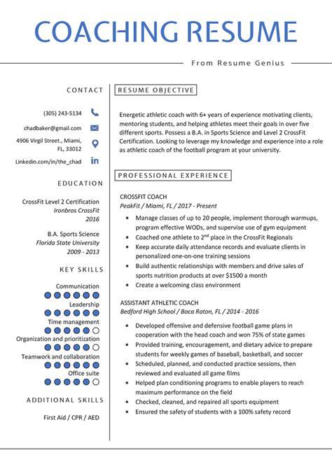 coaching resume sample writing tips resume genius